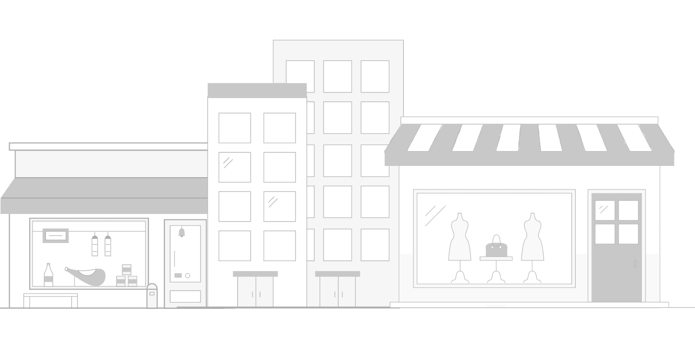 vector image of commercial and small scale businesses buildings